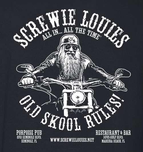 Black Screwy Louies Old Skool Rules Tee
