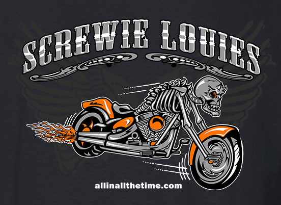 Black Screwy Louies Skeleton Biker Tee